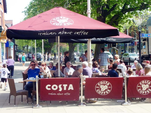 jumbo Parasols Costa Coffee, Southport