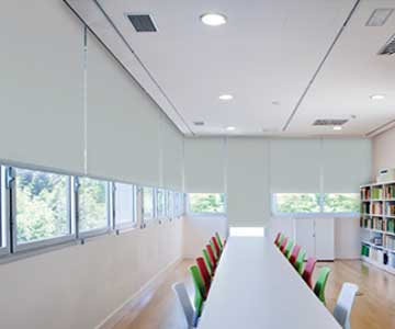 Grey Roller Blinds in School classroom